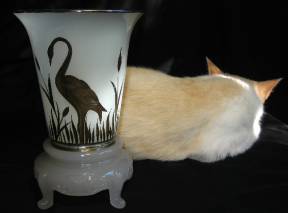 Beaumont Glass Ferlux Vase with silver heron