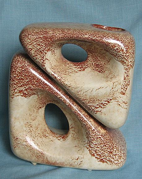 Bertoncello Italian Pottery Mid Century Modern                   Stacked Triangles Vase