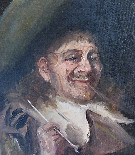 Detail, John Pettie cavalier with pipe in