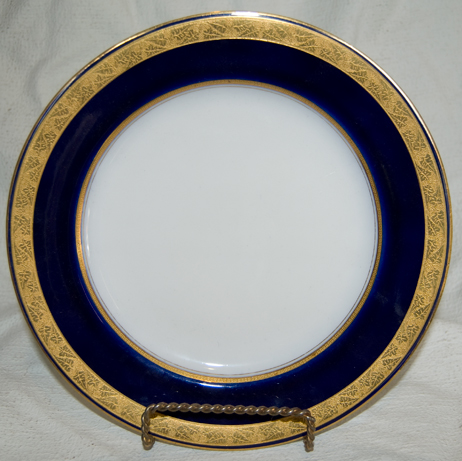 Royal Worcester Plate, cobalt and gold